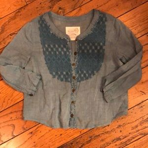 Free People gauze chambray crochet button up top